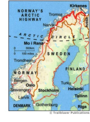Norways Arctic Highway Trailblazer Maps Books Travel - Norway highway map