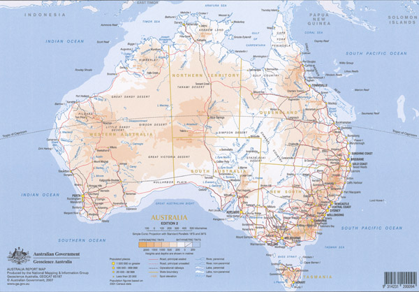 Australia  A4 Map Laminated 10 Copies