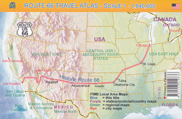 Route 66 Atlas ITMB Maps Books Travel Guides – Travel Route 66 Map