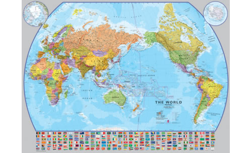 World Maps International Large Pacific Centered Laminated Maps - Worl maps