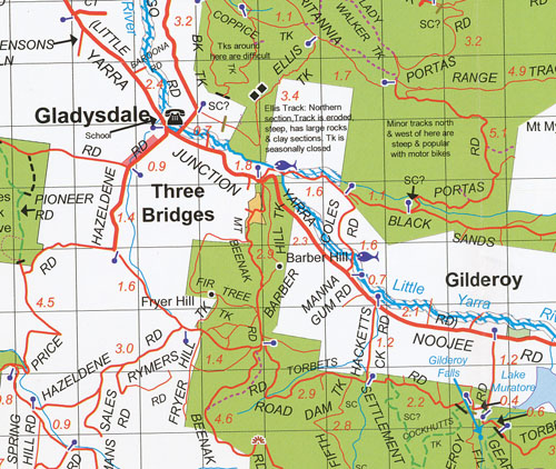 Yarra Valley West Gippsland Map Rooftop  Maps  Books  Travel