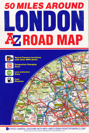 50 Miles Around London Road Map A-Z