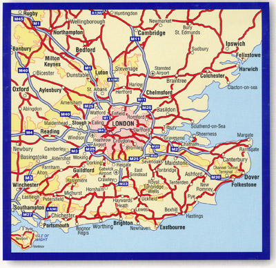 Map Around London.50 Miles Around London Road Map A Z Maps Books Travel Guides