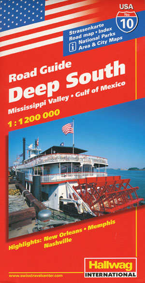 USA Deep South Map 10 Hallwag | Maps | Books | Travel Guides | Buy Deep South Usa Map on