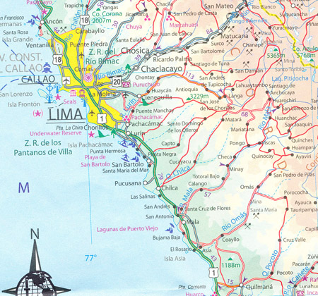 Lima Central Peru Map ITMB Maps Books Travel Guides Buy Online