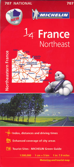 France Northeast Map 707 Michelin
