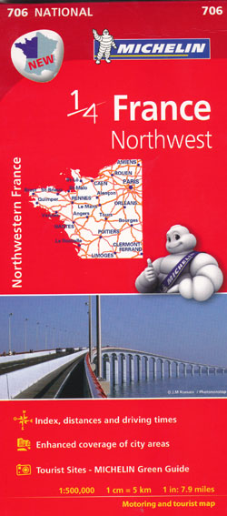 France Northwest Map 706 Michelin