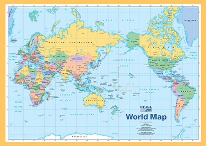 World wall maps maps books travel guides buy online world map a4 hema gumiabroncs Image collections
